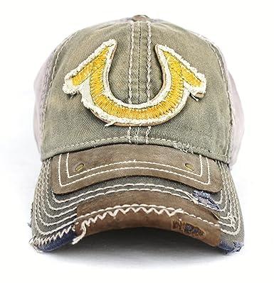 New True Religion Big Buddha Distressed Army Trucker Hat Cap   TR 1461   Amazon.co.uk  Clothing 80eae7f47717