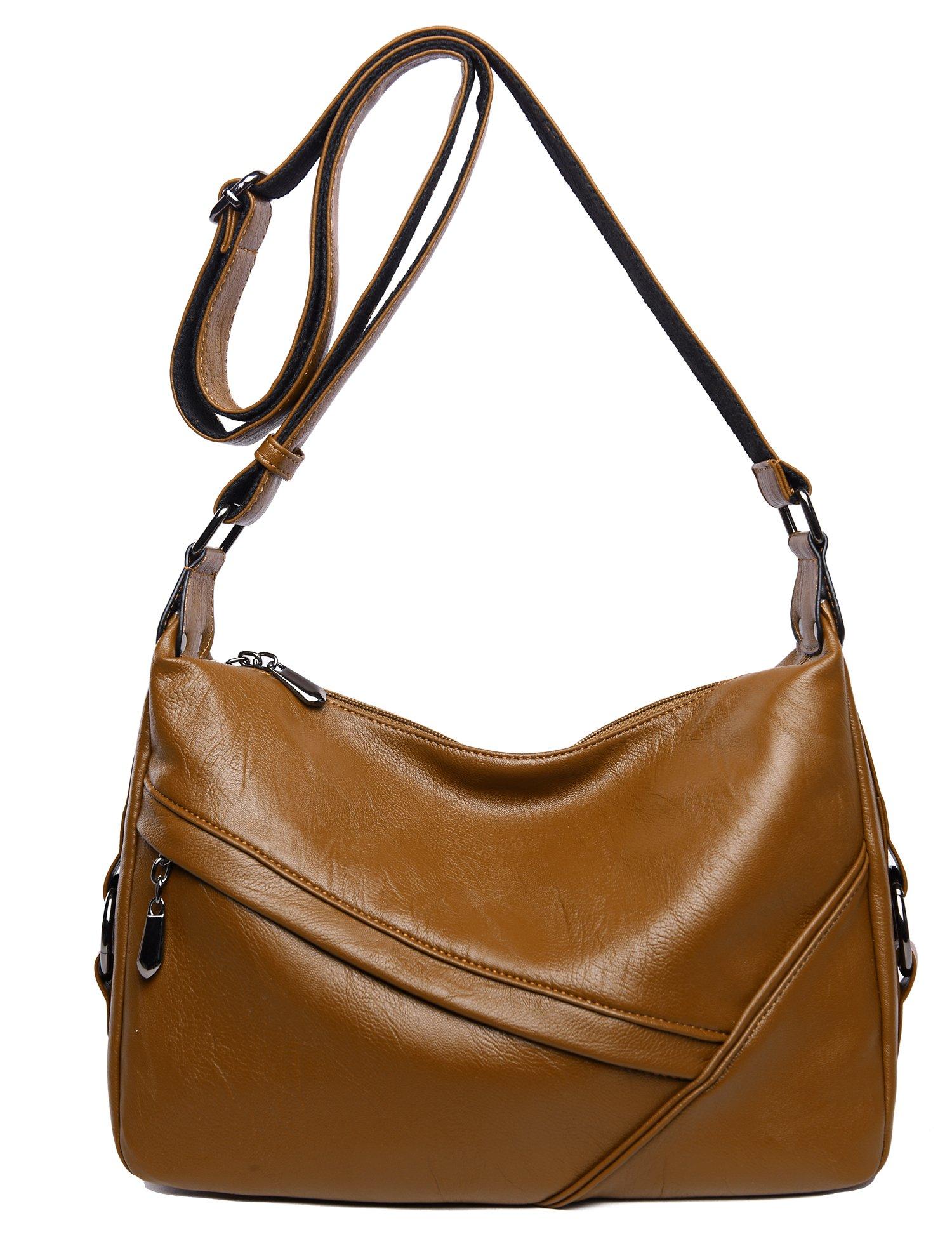 Women's Retro Sling Shoulder Bag from Covelin, Leather Crossbody Tote Handbag Brown