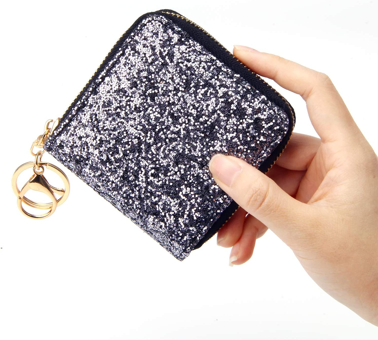 Please Choose! Keychain Two Tone Sequins Decorated Women/'s Small Zip Wallet