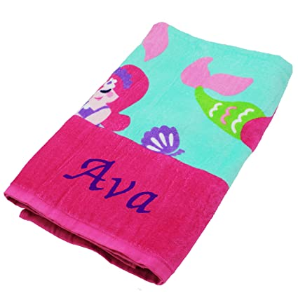 Personalized Beach Towels Monogrammed Gifts For Kids Her Him Custom Embroidered Towel Mermaids