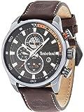 Timberland Henniker II Hommes de montre à quartz avec affichage analogique cadran noir et bracelet en cuir marron foncé 14816jlu/02A