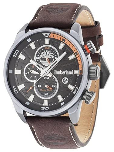 6fab1e4e74aa Timberland Henniker II Men s Quartz Watch with Black Dial Analogue Display  and Dark Brown Leather Strap 14816JLU 02A  Amazon.co.uk  Watches