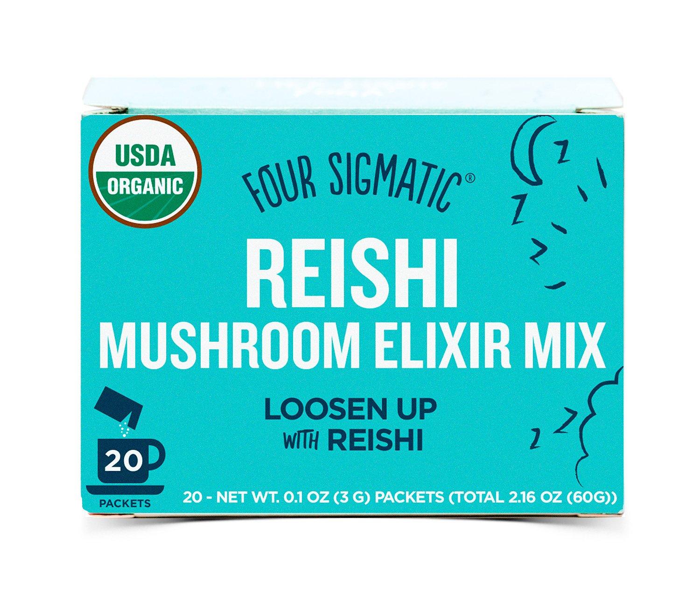 Four Sigmatic Organic Mushroom Elixir Mix with Reishi & Antioxidants for Relaxation + Sleep, Vegan, Paleo, Gluten Free, 0.1 Ounce (20 Count)
