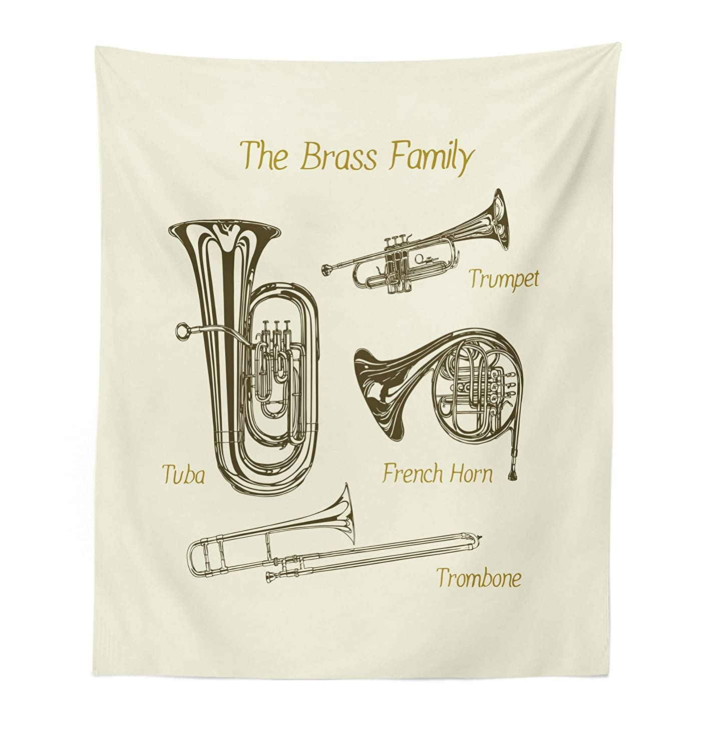 Fabric Wall Hanging Decor For Bedroom Living Room Dorm Lunarable Music Tapestry Brass Family Instruments Drawing