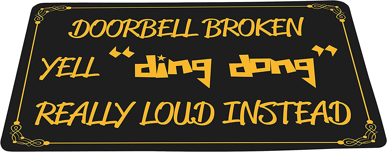 "wizardry1986 Doorbell Broken Yell Ding Dong Really Loud Instead Funny Doormat Black Background Floor Mat with Non-Slip Backing Bath Mat Rug Excellent Home Decor (16"" × 24"")"