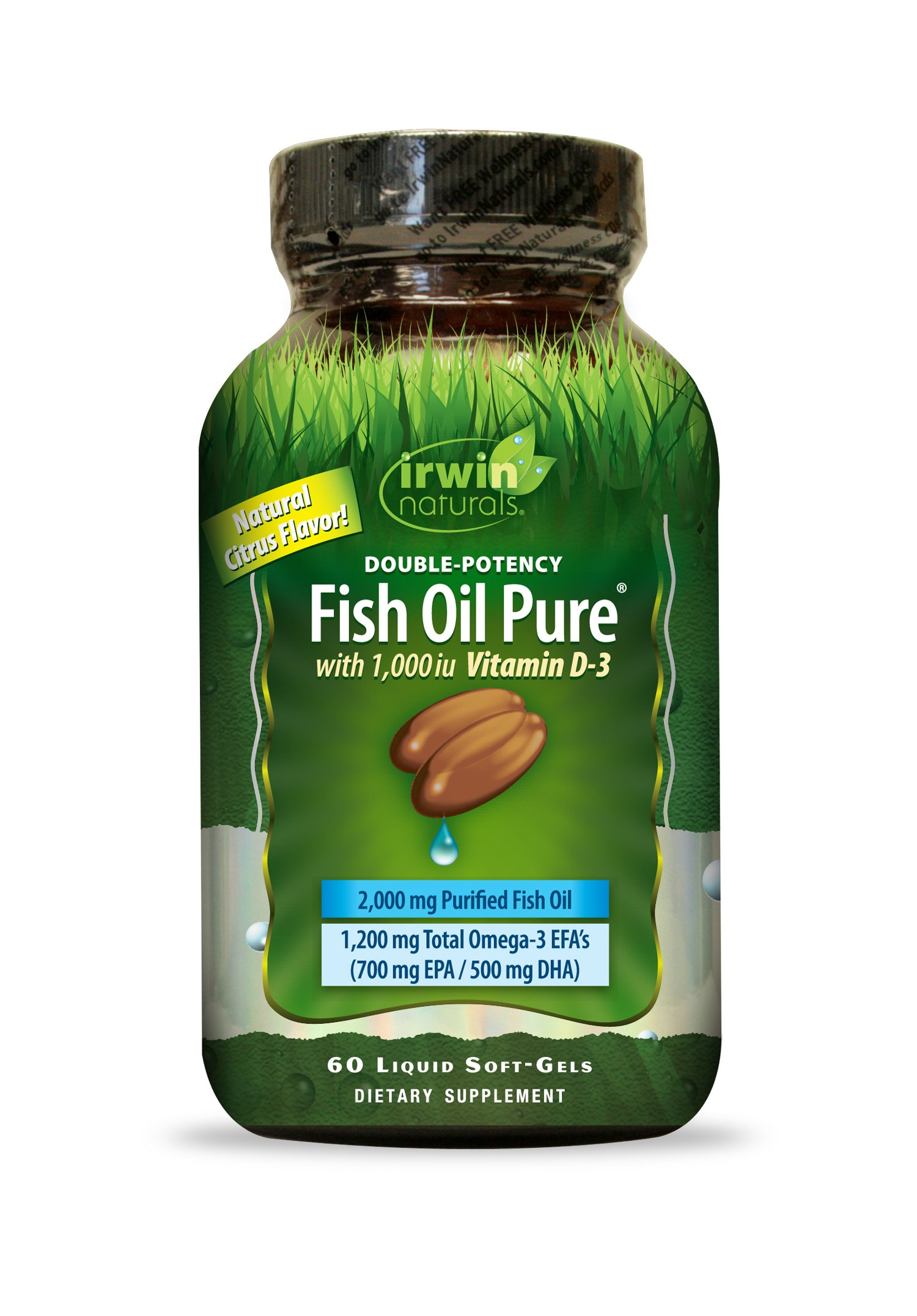 Double-Potency Fish Oil Pure by Irwin Naturals, Citrus Flavor with Vitamin D-3, 60 Liquid Soft-Gels