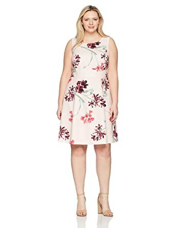 139fd72988c3d Nine West Women s Size Plus Printed Crepe Dress with Waist Treatment ...