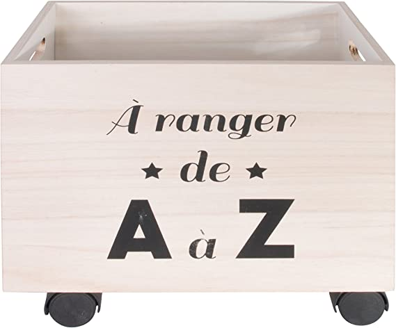 THE HOME DECO FACTORY hd4683.almacenaje con roulettes, 2.pcs, madera, 40 x 29 x 31,50 cm, Beige/Negro: Amazon.es: Hogar