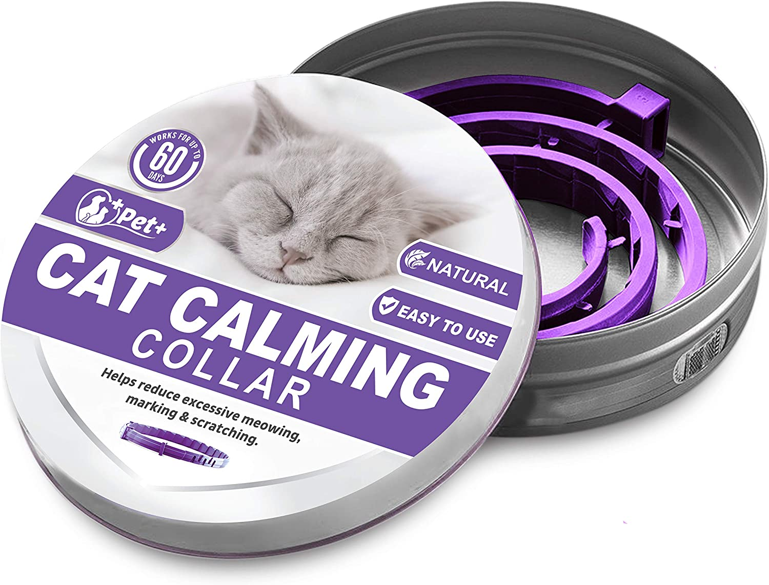 PETPLUS Cat Calming Collar for Cats | Purrfect to Reduce Your Pet's Anxiety or Aggression | Pheromones for Cats & Cat Anxiety Relief | Cat Calming Products for Kittens | 2-Month Protection, 1 Collar