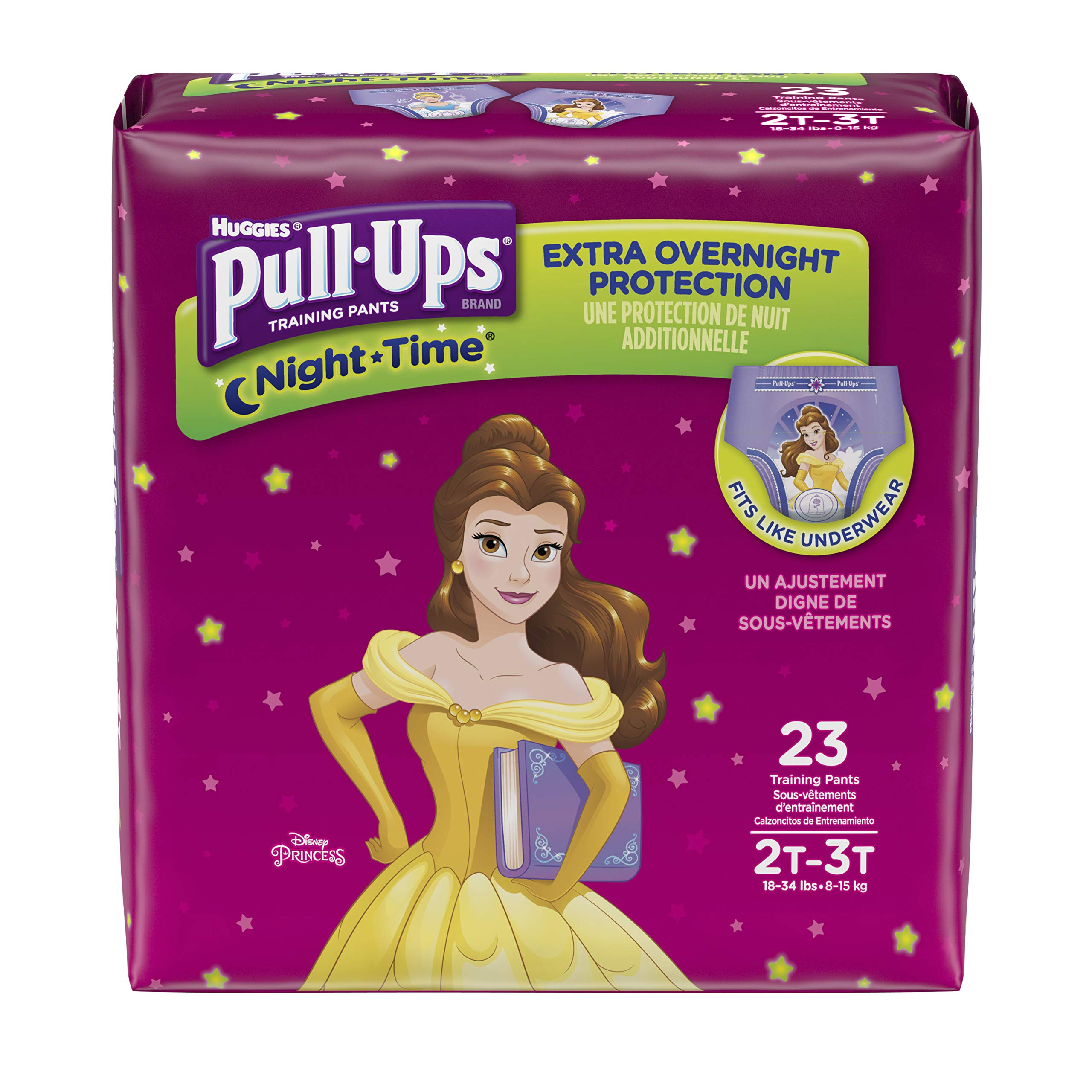Pull-Ups Night-Time Potty Training Pants for Girls, 2T-3T (18-34 lb.), 23 Ct.- Pack of 4 (Packaging May Vary)