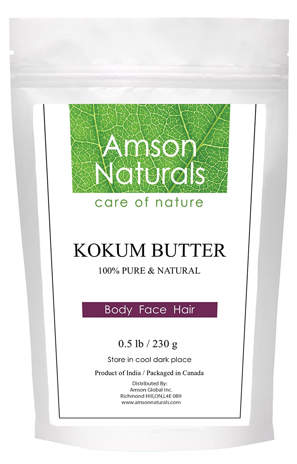 Kokum Butter –8oz/240g-by Amson Naturals-100% Pure and Natural – leaves skin soft and moisturized, helps to promote skin elasticity, prevention of skin dryness, and restoration of damaged skin, excellent for cosmetic and DIY recipes.
