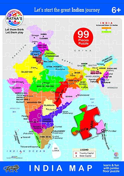 India Map Puzzle.Buy Ratna S Educational India Map Jigsaw Puzzle 99 Pieces Online