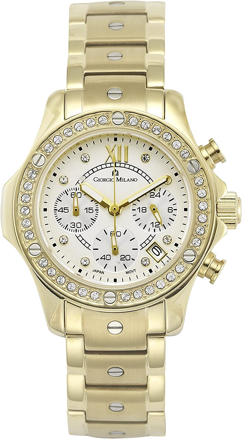 Giorgio Milano Womens Watch Clara Round Stainless Steel case with Stones, Dial with Roman Numbers, Stone Markers, 3 sub dials and Date, Stainless Steel Bracelet