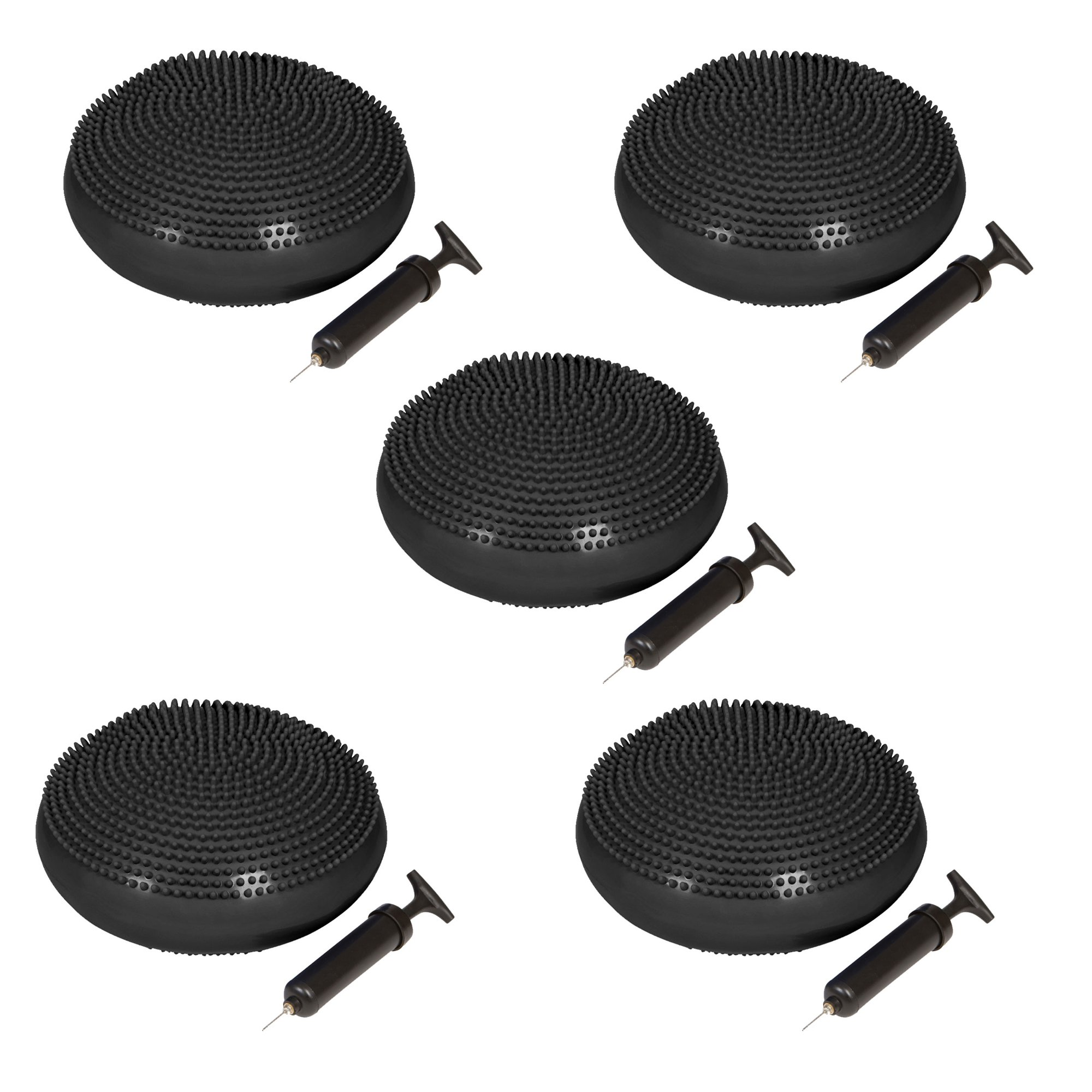 Trademark Innovations PVC Fitness and Balance Disc - 13-Inch Diameter - Set of 5 - (Black)
