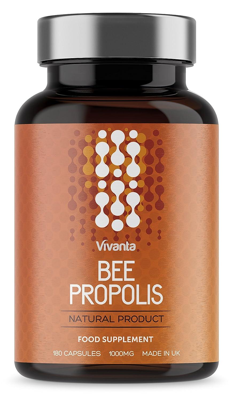 Bee Própolis - Propóleo de abeja - 1000 mg x 180 cápsulas | Suministro de 6 meses | Propolis (propóleos) de la más alta calidad - propóleos hecho en el ...