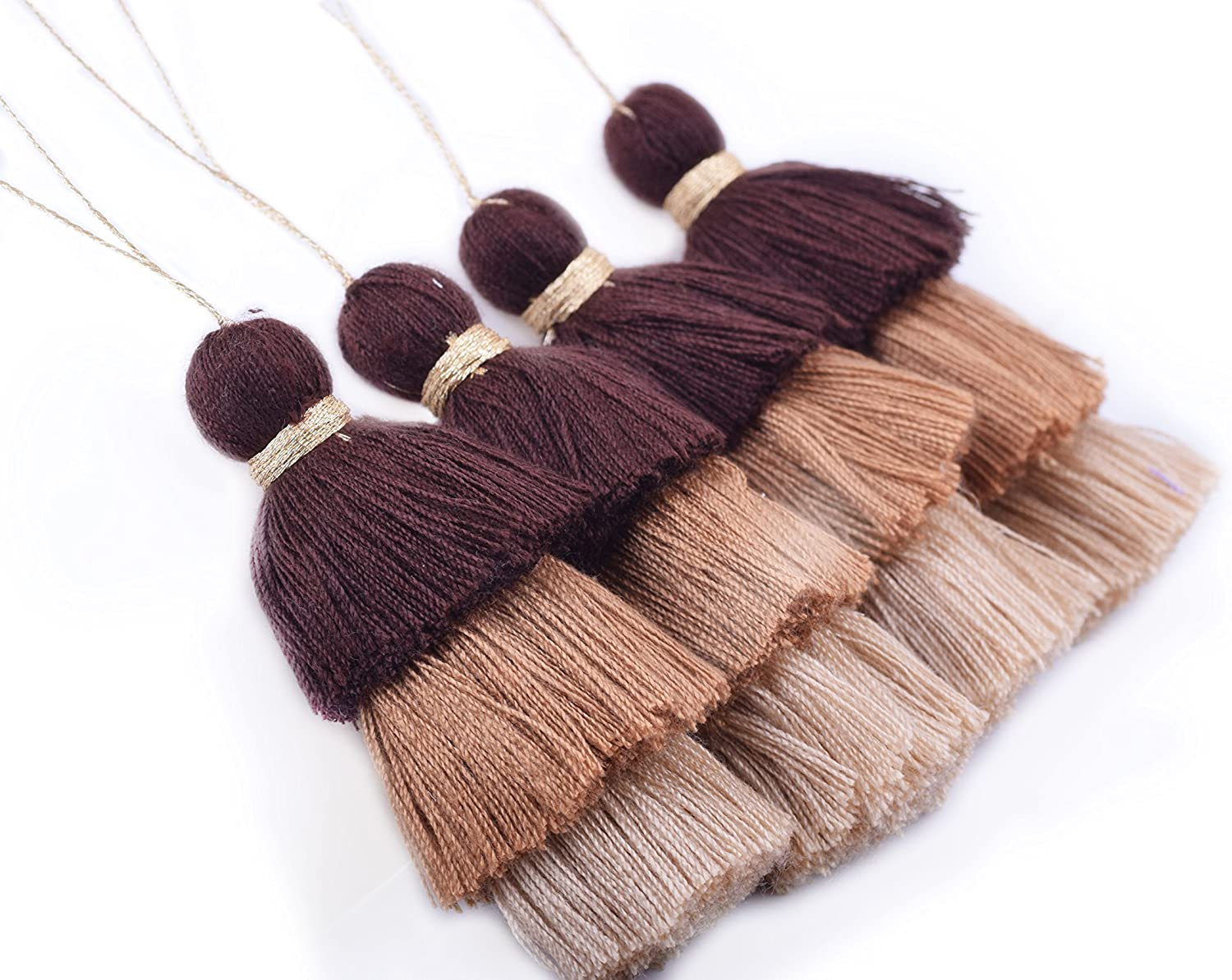 Clothing KONMAY Bulk 20pcs Tri-Layered Tassels with Hanging Loop for Jewelry Making