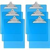Trade Quest Plastic Clipboard Transparent Color Letter Size Standard Clip (Pack of 6) (Sky Blue)