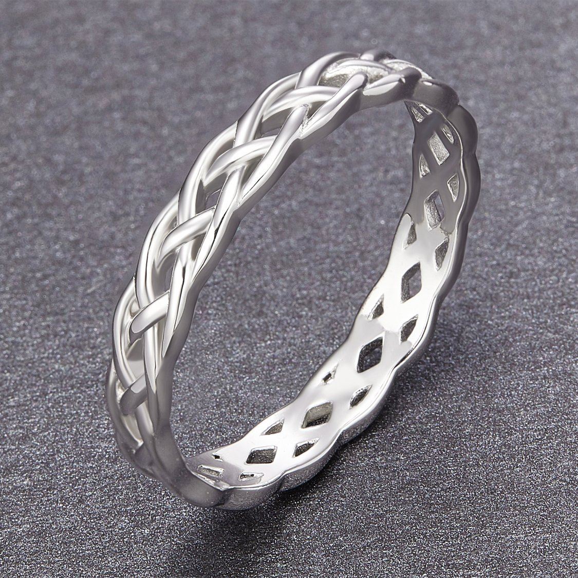 SOMEN TUNGSTEN 925 Sterling Silver Ring 4mm Eternity Knot Wedding Band for Women Size 7.5 by SOMEN TUNGSTEN (Image #3)