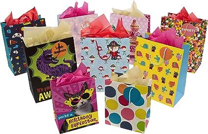 Hallmark - Bolsa de regalo para niños y paquete de pañuelos, 7 bolsas medianas, 2 bolsas pequeñas y 3 paquetes de pañuelos: Amazon.es: Oficina y papelería