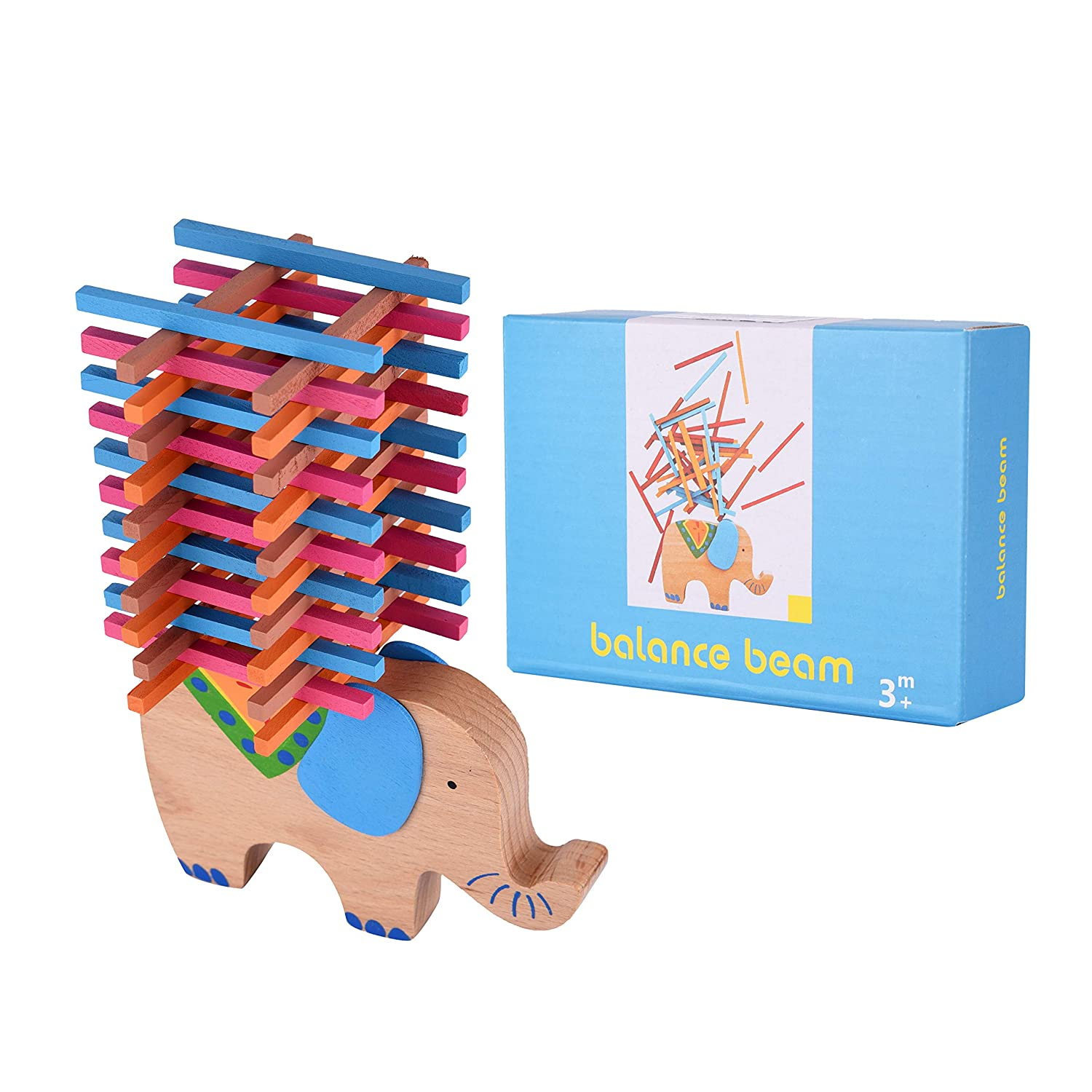 Brown USATDD Wooden Puzzle Stacking Building Blocks Balance Board Table Game Elephant Balancing Toy Educational Gift for Kids 40 Pieces