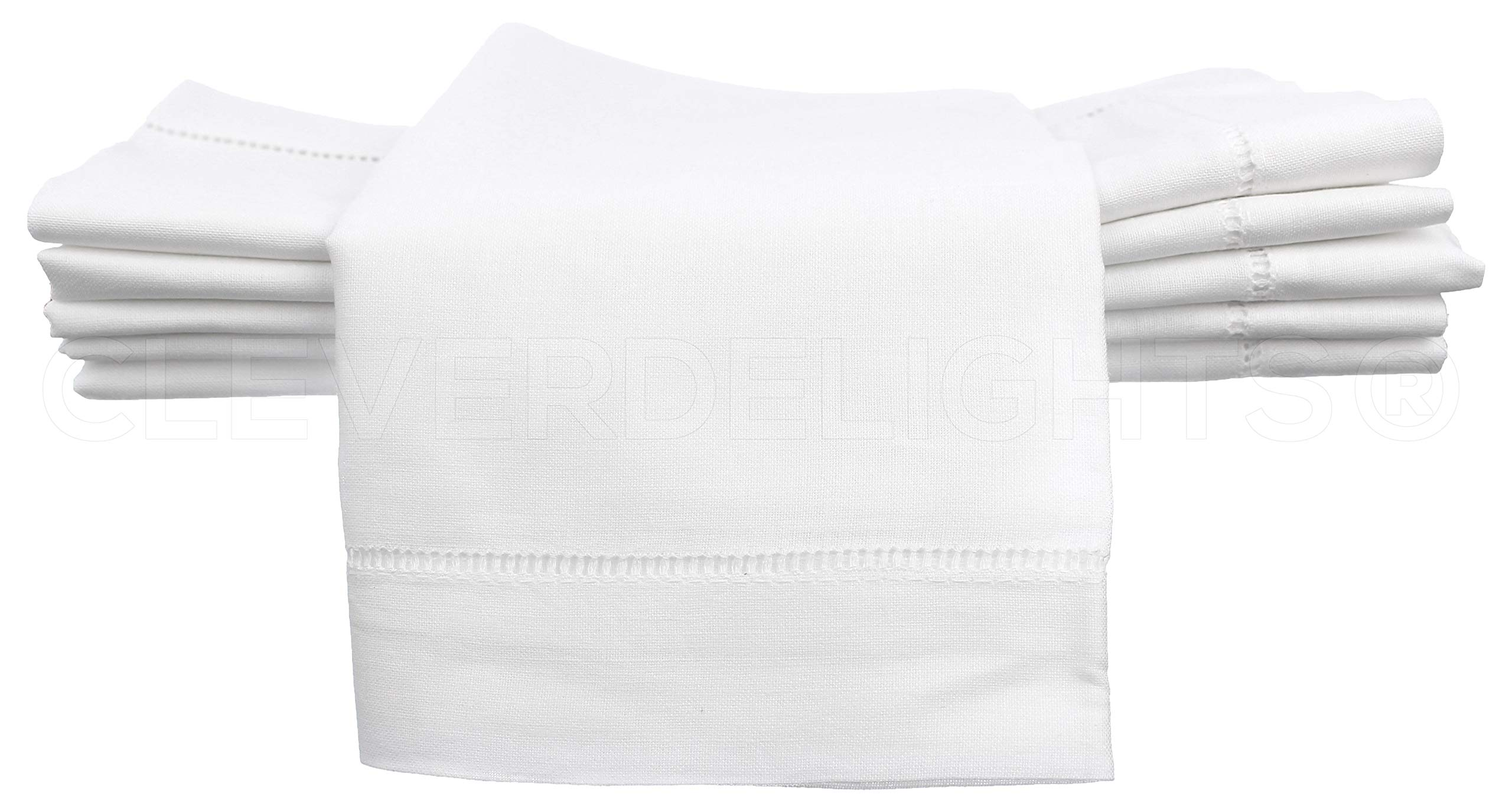 CleverDelights 12 White Hemstitch Dinner Napkins - 20'' - 55/45 Linen Cotton Blend - 20'' x 20'' Ladder Hemstitch Cloth Dinner Napkins by CleverDelights