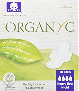 Organyc - Toallas sanitarias de noche con alas en bolsa individual, 10 unidades