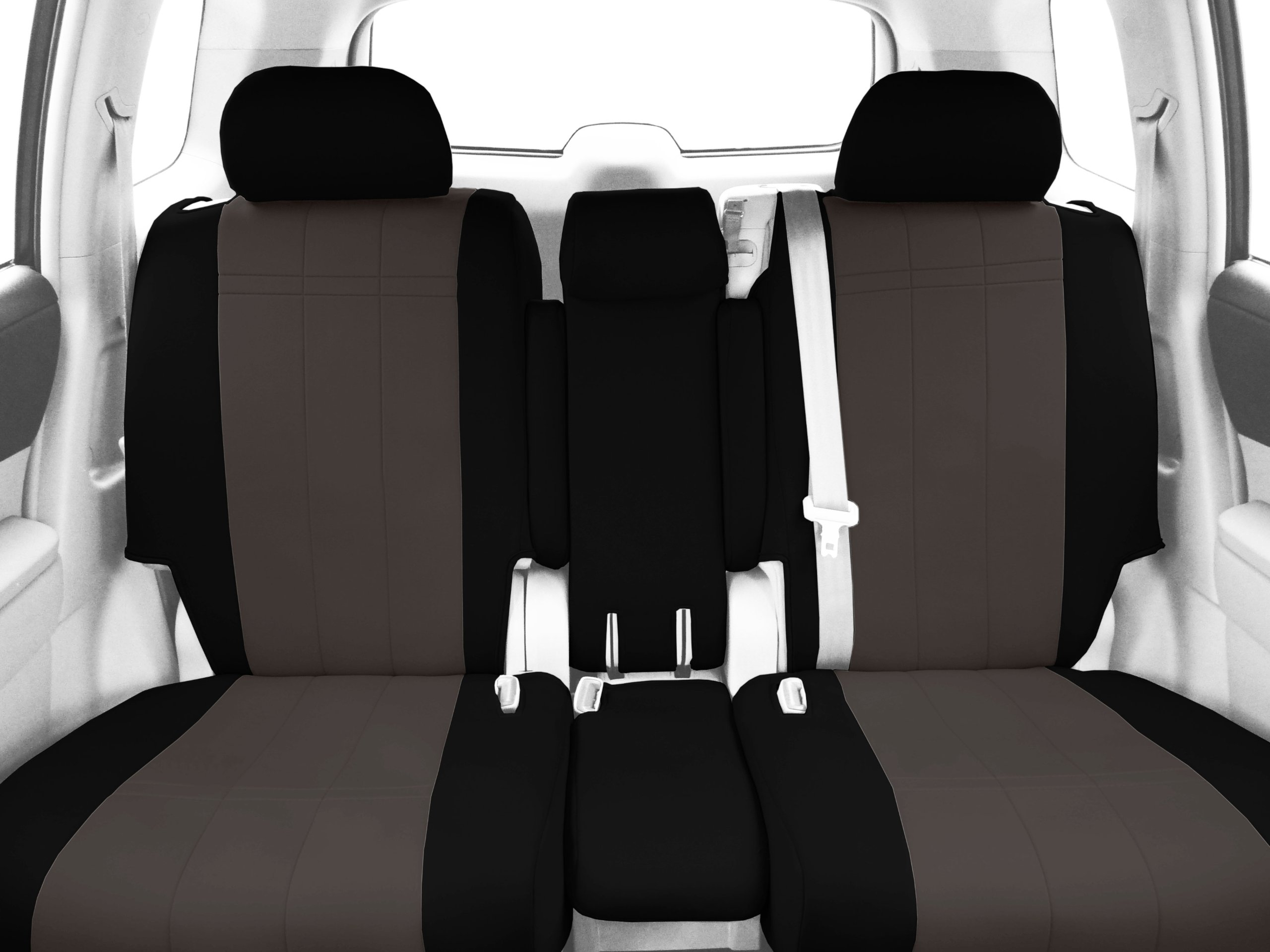 CalTrend Front Row 40/20/40 Split Bench Custom Fit Seat Cover for Select Ford F-150 Models - Neoprene (Charcoal Insert with Black Trim) by CalTrend