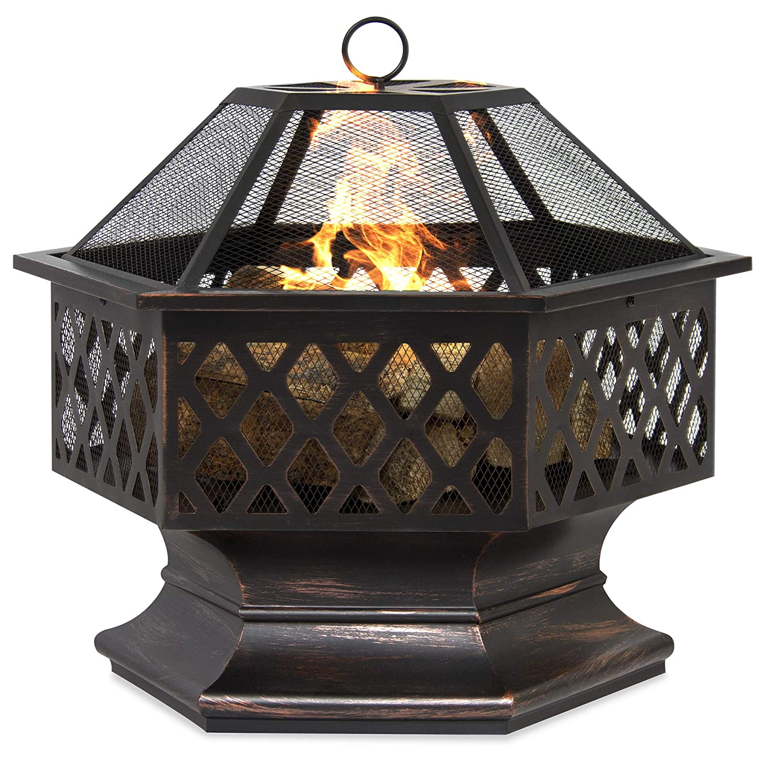 Best Choice Products Outdoor Hex-Shaped 24-inch Steel Fire Pit Decoration Accent w/Flame-Retardant Lid, Black