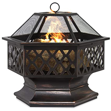 Marvelous Best Choice Products 24In Hex Shaped Steel Fire Pit Decoration Accent For Patio Backyard Poolside W Flame Retardant Lid Black Home Remodeling Inspirations Genioncuboardxyz