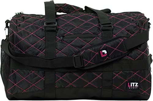 Pink And Black Dance Bag – Volleyball Bag – Soccer Bag – Duffle Bag For Kids – Dance Bags For Girls – Kids Duffle Bag – Ballet Bag – Gymnastics Duffle Bags For Girls – Cheer Bags – LITZ Travel Duffle