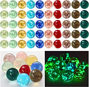 Skylety 50 Pieces Handmade Glass Marbles, Marbles Glow in The Dark, Colorful Glass Marbles for Boys and Girls Marble Games, DIY and Home Decoration, 10 Colors
