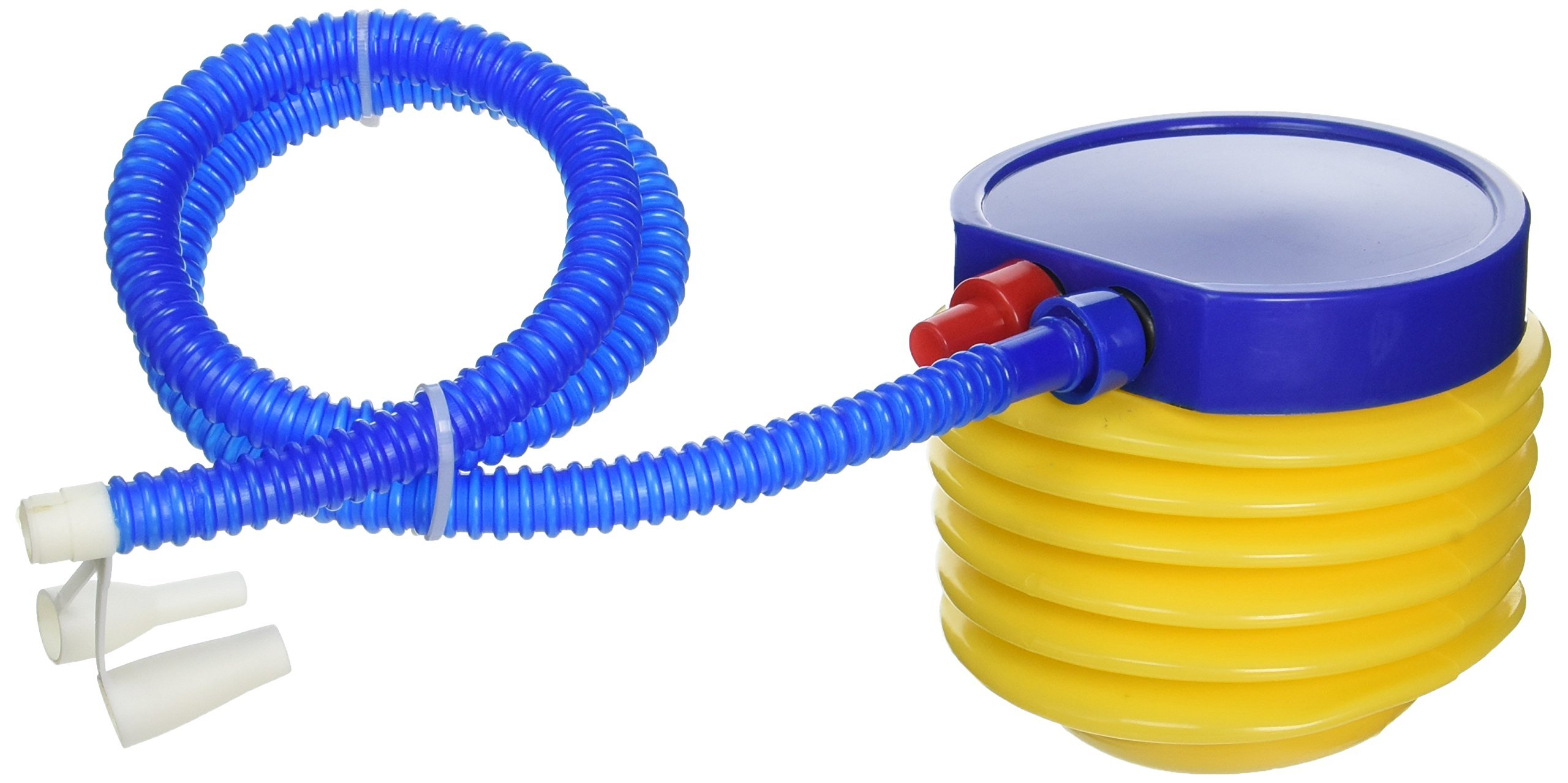 TOOGOO(R) Inflatable Toy Balloon Ball Foot Air Pump Inflator Yellow Blue