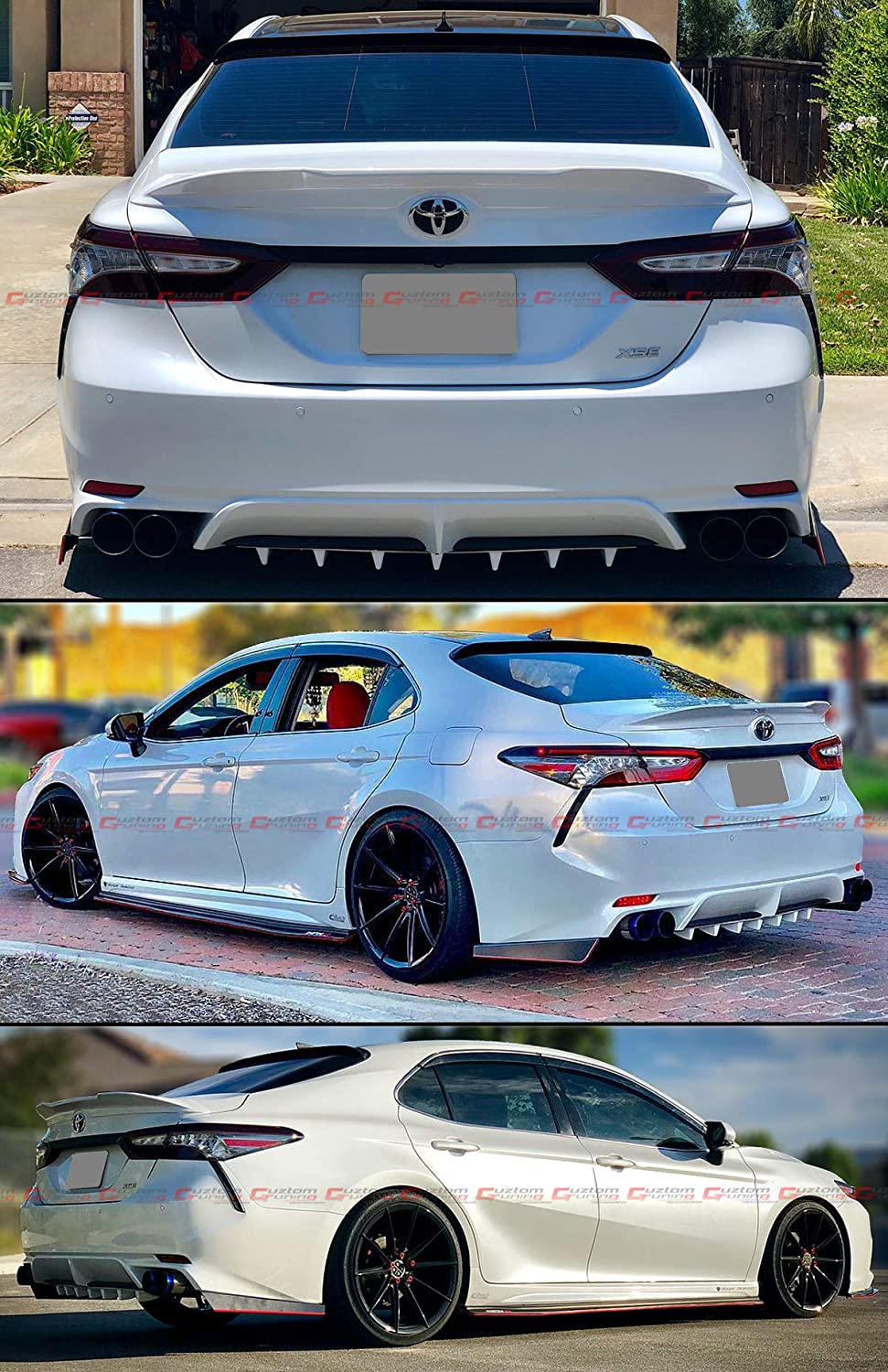 Cuztom Tuning Fits for 2018 2019 Toyota Camry LE XLE SE XSE TR Style High Kick Duckbill Rear Trunk LID Spoiler Wing Painted Pearl White