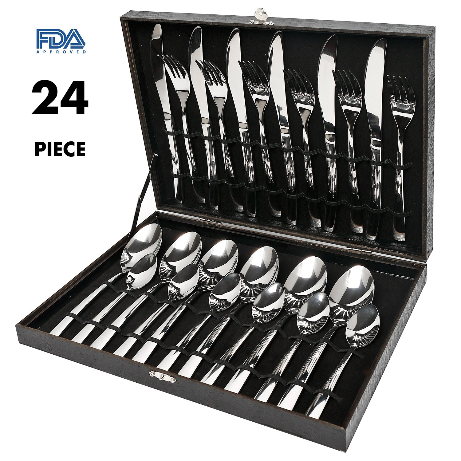 Elegant Life Silverware Set,24-Piece Stainless Steel Flatware Sets High-grade Mirror Polishing Cutlery Sets,Multipurpose Use for Kitchen,Restaurant Tableware Utensil Sets with Gift Box Service for 6