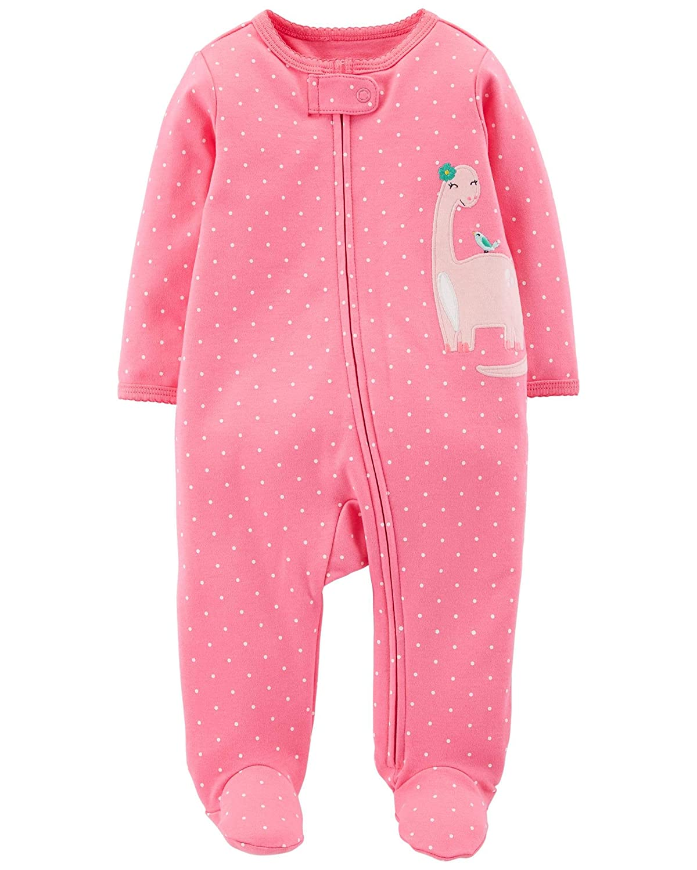 Carters Set of 2 Baby Girls Cotton Footed Sleeper Sleep and Play Pajamas