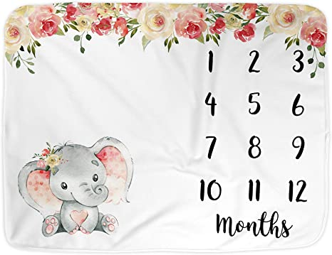 blanket personalised Baby shower gift Baby shower Milestone blanket blanket custom Blanket personalized Monthly elephant blanket