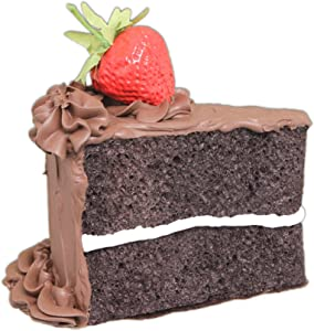 "Just Dough It 5"" Realistic Slice of Chocolate Frosted Chocolate Cake with Strawberry Replica Prop"
