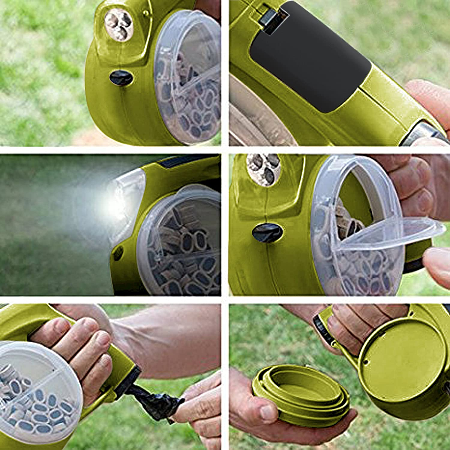 Retractable dog leash with 5 Kimopa functions. Bag dispenser , LED light, water bowl, food storage. With 13 feet is ideal as dog leash for small and medium breeds up to 76 lbs. chic