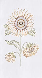 C&F Home Sunflower Flour Sack Kitchen Towel White