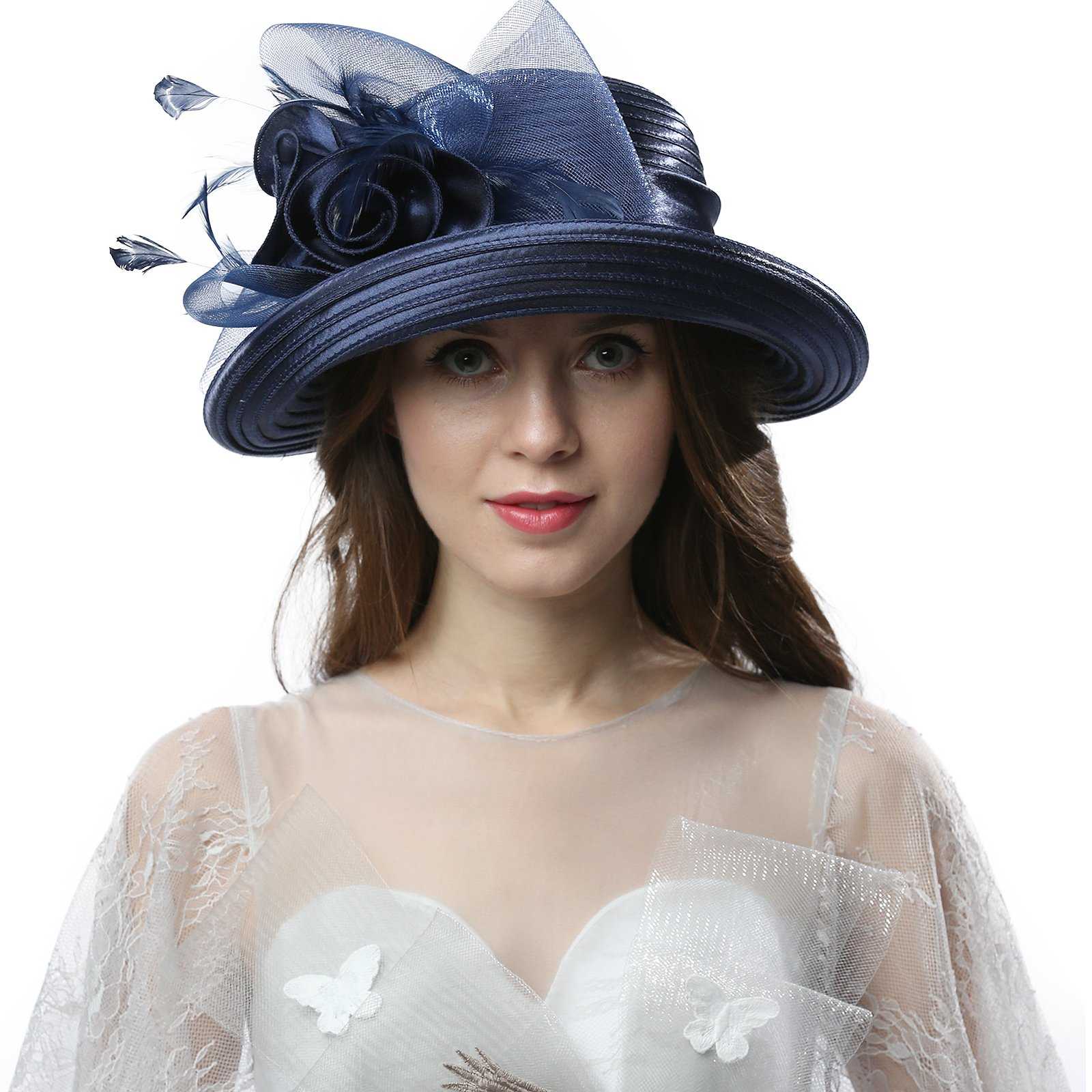 Original One Women's Cloche Bowler Hats KDC1701 For Kentucky Derby Day, Church, Wedding, Tea Party and More Formal Occasion (Royal Blue)