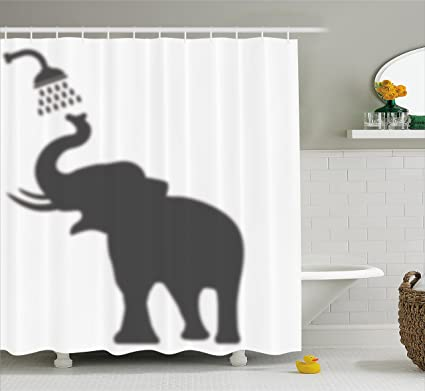 Ambesonne Elephant Shower Curtain Set Taking A Bathing In Bath Tub Shadow Funny