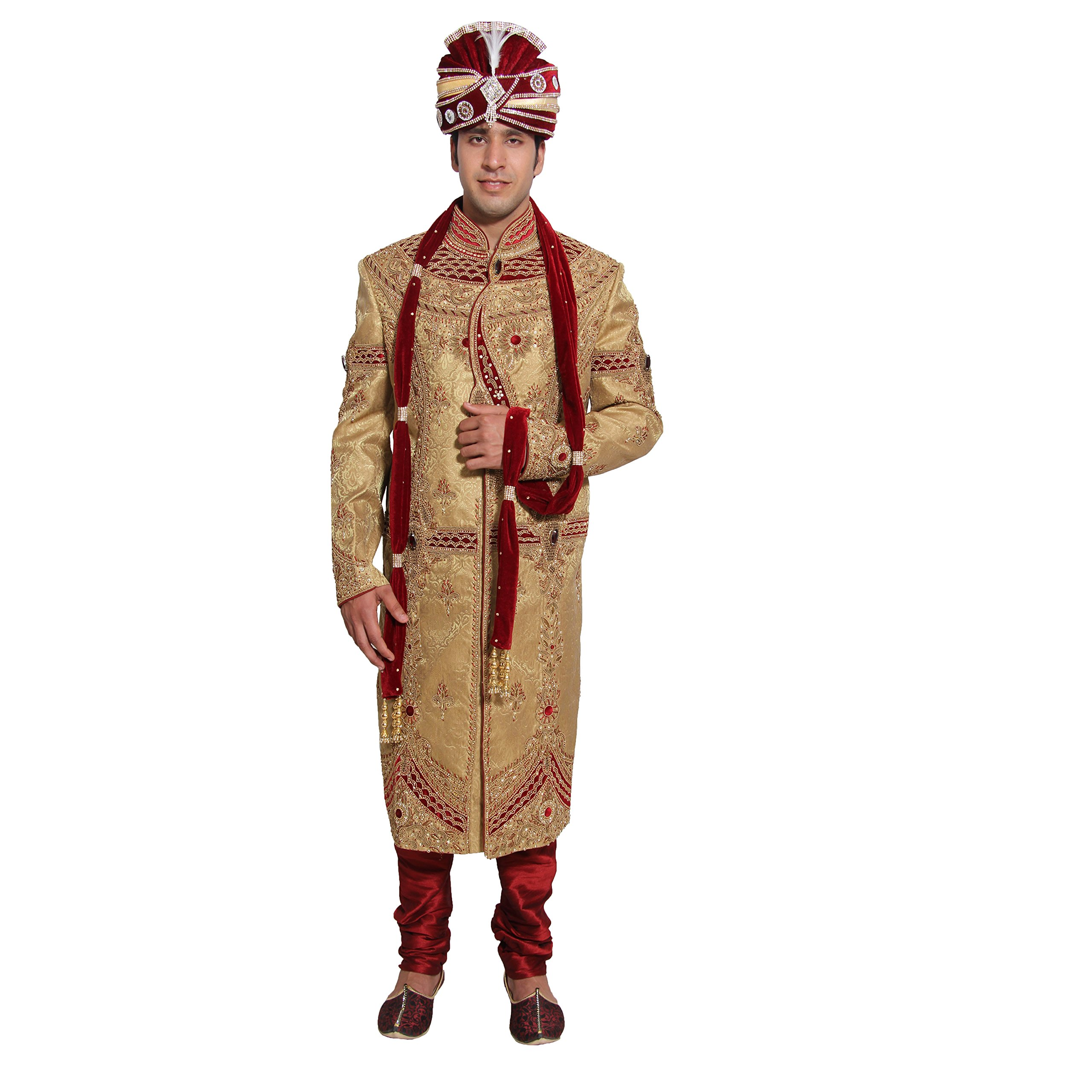 Embroidered Mens Sherwani Set Indian Wedding Party Wear