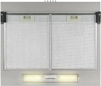 Klarstein Purista Campana extractora - Extractor bajo de 60 cm, Montaje en pared, Pantalla de vidrio plegable transparente, Iluminación halógena, Caudal: 186 m³/h, Acero inoxidable, Plateado: Amazon.es: Grandes electrodomésticos