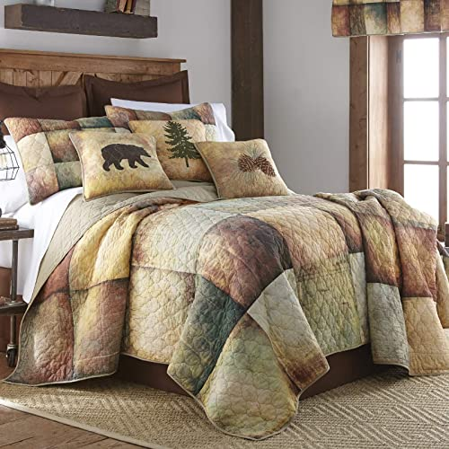 Donna Sharp King Bedding Set – 3 Piece – Wood Patch Lodge Quilt Set with King Quilt and Two Standard Pillow Shams – Machine Washable