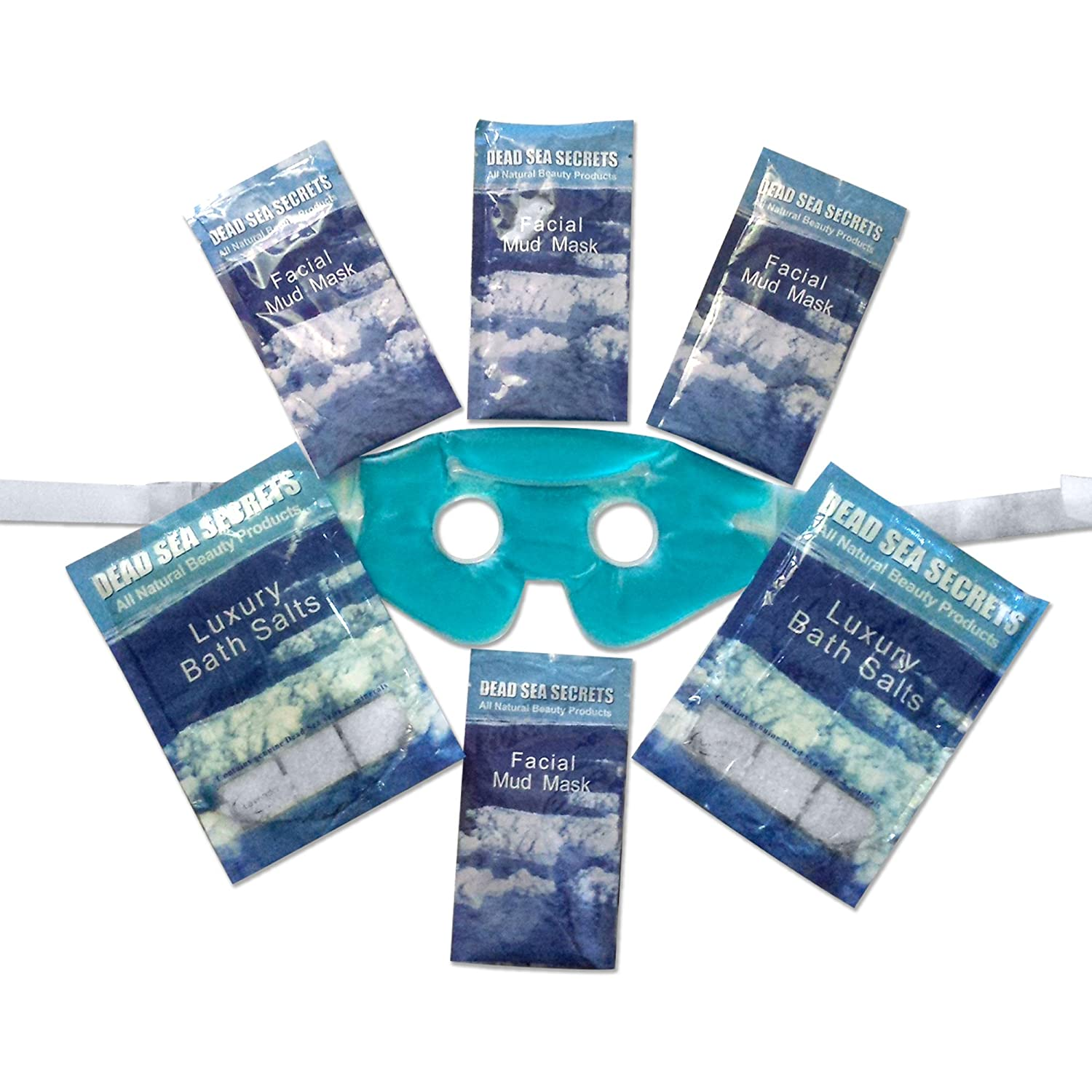 Premier Dead Sea Relaxation Gift of Dead Sea Mud Masks and Dead Sea Salts from Israel plus Soothing Eye Gel Mask, Organic Skin Care for Bath and Body