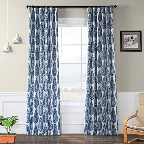 HPD Half Price Drapes BOCH-KC107-96 Blackout Room Darkening Curtain 1 Panel , 50 X 96, Medallion Blue