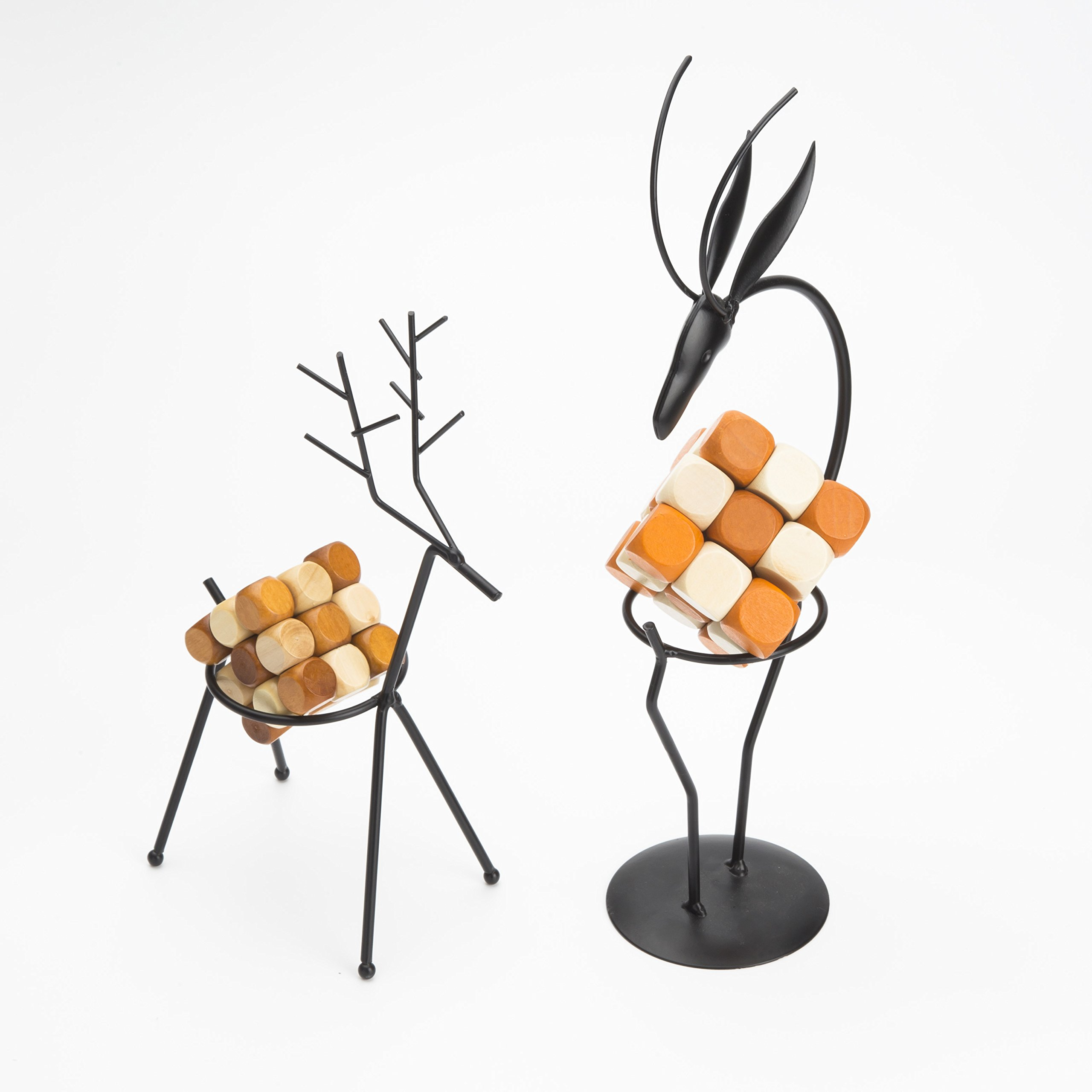 Metal Handicraft Stand Deer with European Elements Minimalist Design ,2 Pieces Deer and 2 Pieces ''Drgon Wagging Tail'' Brain Teaser Toys ,Best Gift for Kids/Adults by Like KongMing (Image #3)