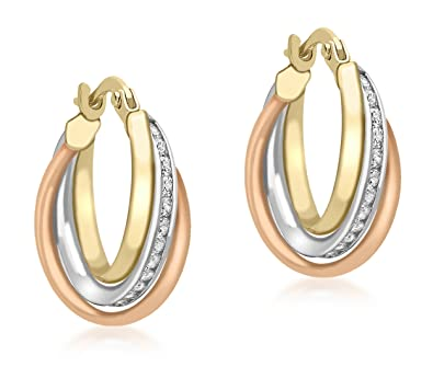 Carissima Gold 9 ct Cubic Zirconia Band Creole Earrings Vi7XB9XEW6
