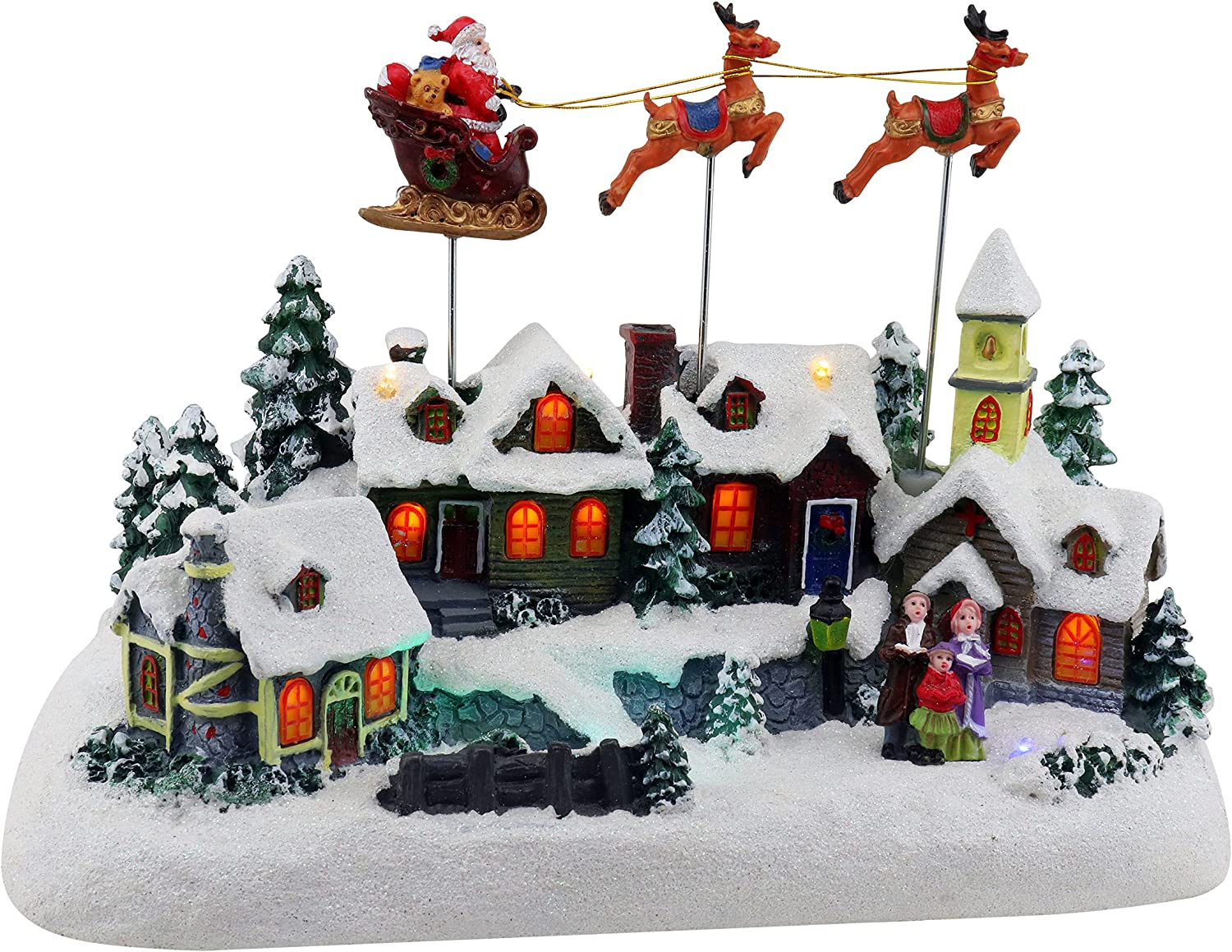 Animated Santa & Reindeer Sleigh Christmas Village | Pre-lit Musical Christmas Village | Perfect Addition to Your Christmas Indoor Decorations & Holiday Displays