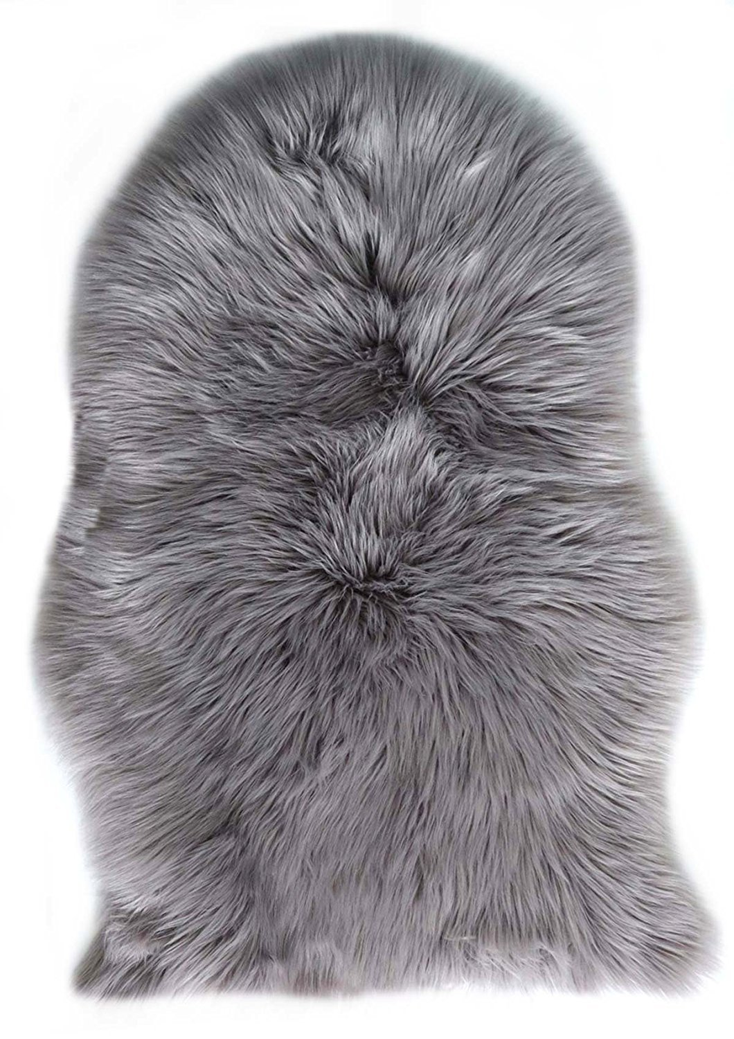 Faux Lambskin Fleece Rug 60 x 90 cm Artificial Fur Long Hair Decorative Sofa Bedroom Rug, Polyester, grey, 60 x 90 cm Avnten